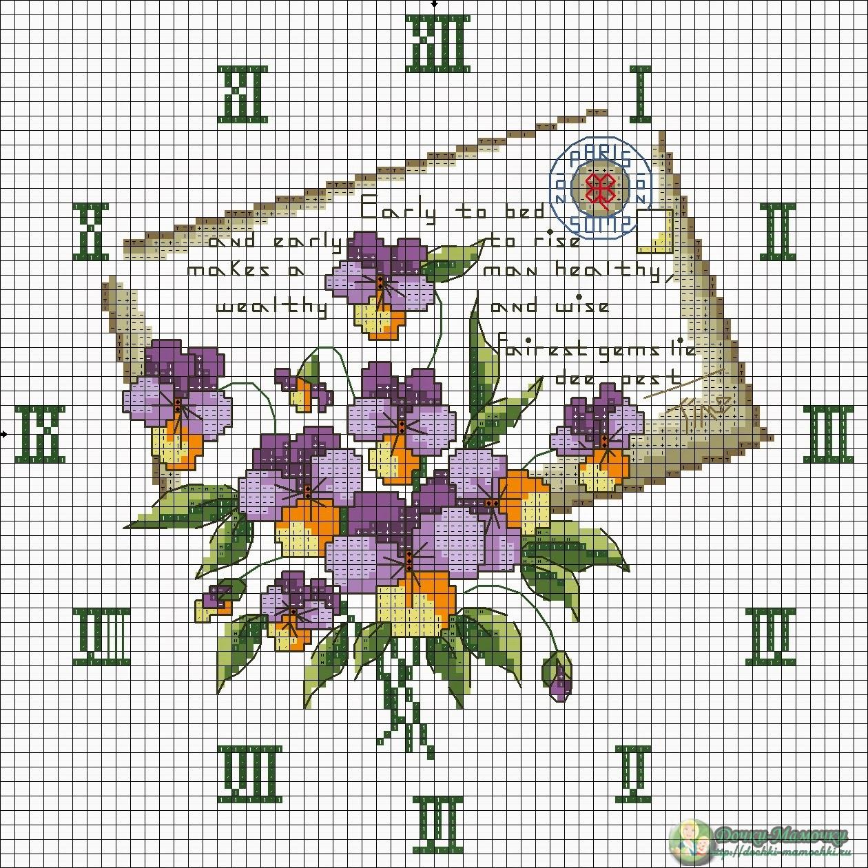 схема вышивки циферблат часов